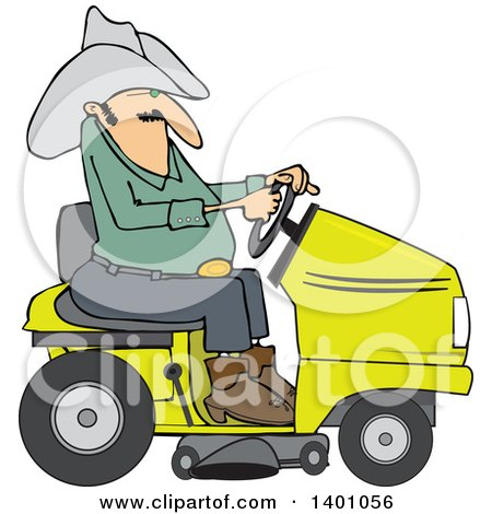 Clipart of a Chubby Cowboy Riding a Yellow Lawn Mower - Royalty Free Vector Illustration by djart