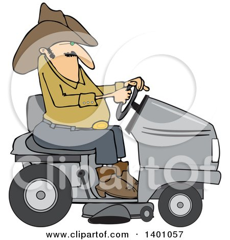 Clipart of a Chubby Cowboy Riding a Gray Lawn Mower - Royalty Free Vector Illustration by djart