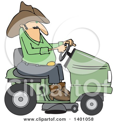 Clipart of a Chubby Cowboy Riding a Green Lawn Mower - Royalty Free Vector Illustration by djart