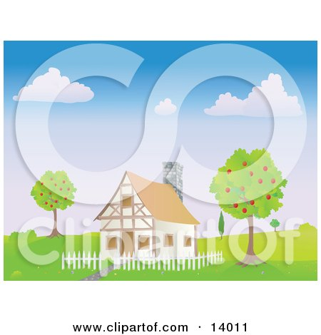 Chalet House With a White Picket Fence Between Two Apple Trees in the Spring Clipart Illustration by Rasmussen Images