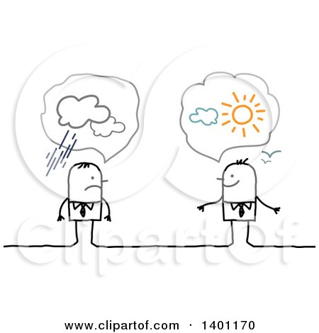Clipart of Optimistic and Pessimistic Stick Business Men - Royalty Free Vector Illustration by NL shop