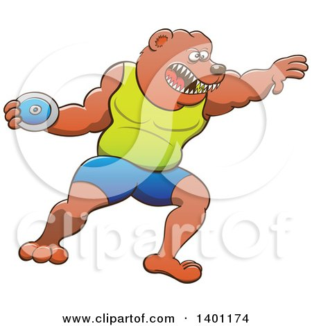 Clipart of a Sporty Athletic Track and Field Bear Performing the Discus Throw - Royalty Free Vector Illustration by Zooco