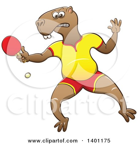 Clipart of a Sporty Athletic Capybara Playing Table Tennis Ping Pong - Royalty Free Vector Illustration by Zooco