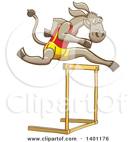 Clipart of a Sporty Athletic Track and Field Donkey Running and Leaping over a Hurdle - Royalty Free Vector Illustration by Zooco