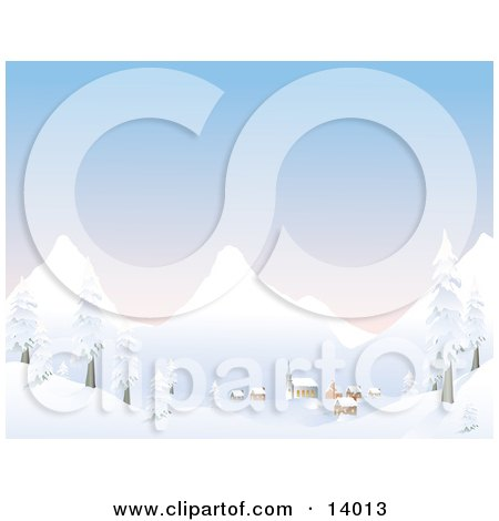Small Mountain Village at the Foot of Mountains at Dawn, Covered in Snow in the Winter Clipart Illustration by Rasmussen Images