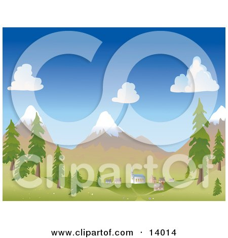 Small Mountain Village at the Foot of Snow Capped Mountains in the Spring or Summer Clipart Illustration by Rasmussen Images
