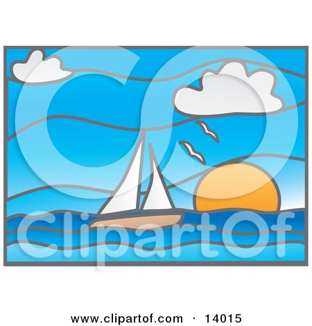Stained Glass Window of Seagulls Flying Over a Sailboat on the Ocean at Sunset Posters, Art Prints