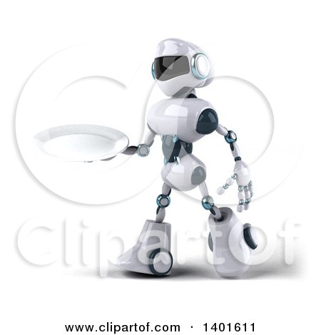 Clipart of a 3d White and Blue Robot Holding a Plate, on a White Background - Royalty Free Illustration by Julos