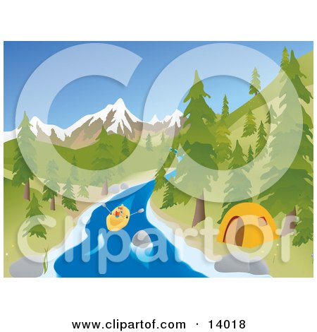 Active Young Couple Rafting Down a River Past a Tent at a Camp Site With Mountains in the Background Clipart Illustration by Rasmussen Images