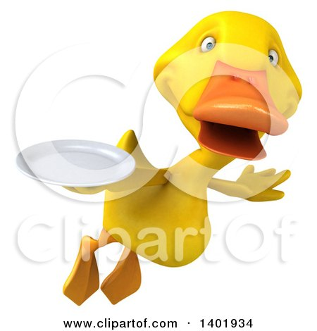 Clipart of a 3d Yellow Duck, on a White Background - Royalty Free Illustration by Julos