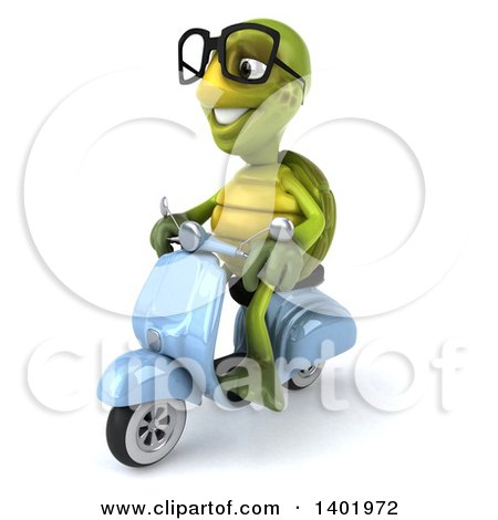 Clipart of a 3d Green Tortoise Riding a Scooter, on a White Background - Royalty Free Illustration by Julos
