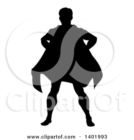 Clipart of a Black Silhouetted Male Super Hero Standing with Hands on His Hips - Royalty Free Vector Illustration by AtStockIllustration