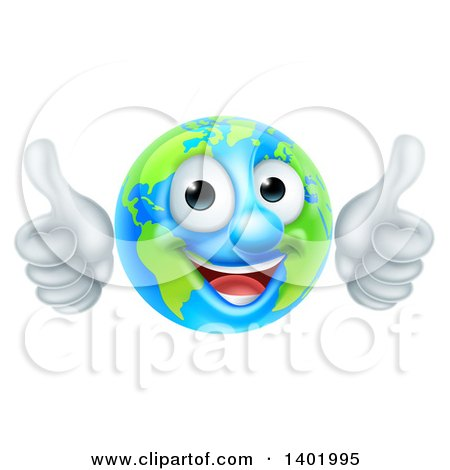 Clipart of a Happy Globe Mascot Giving Two Thumbs up - Royalty Free Vector Illustration by AtStockIllustration