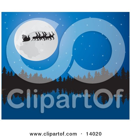 Santa, His Sleigh and Reindeer in Silhouette While Passing in Front of a Full Moon Over a Still Lake and Forest on the Night Before Christmas Posters, Art Prints
