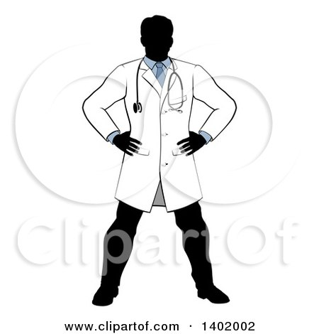 Clipart of a Faceless Silhouetted Male Doctor Wearing a Lab Coat, Standing with Hands on His Hips - Royalty Free Vector Illustration by AtStockIllustration