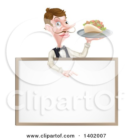 Clipart of a Cartoon Caucasian Male Waiter with a Curling Mustache, Holding a Kebab Sandwich on a Tray, Pointing down over a Blank Sign - Royalty Free Vector Illustration by AtStockIllustration