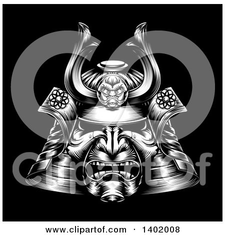 Clipart of a White Woodcut or Engraved Samurai Mask on Black - Royalty Free Vector Illustration by AtStockIllustration