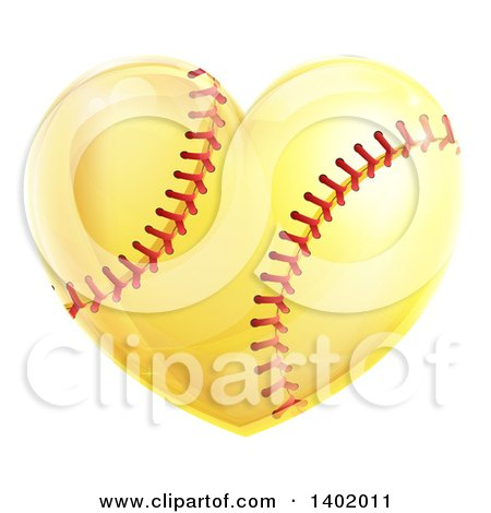 Clipart of a Softball in the Shape of a Heart - Royalty Free Vector Illustration by AtStockIllustration