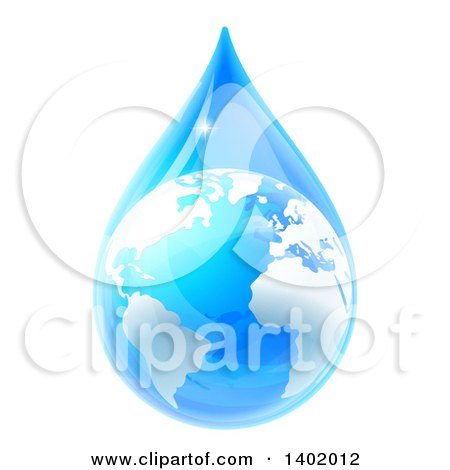Clipart of a 3d Earth in a Blue Water Droplet - Royalty Free Vector Illustration by AtStockIllustration