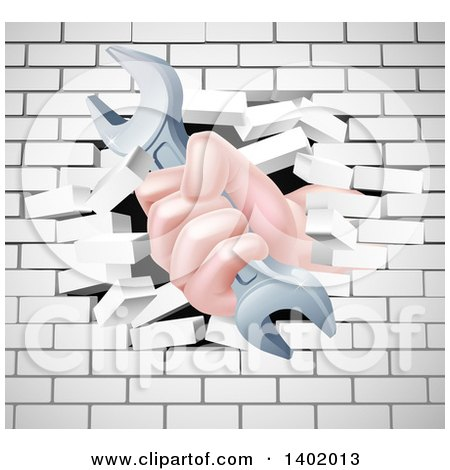 Cartoon Caucasian Hand Gripping a Wrench and Breaking Through a White Brick Wall Posters, Art Prints