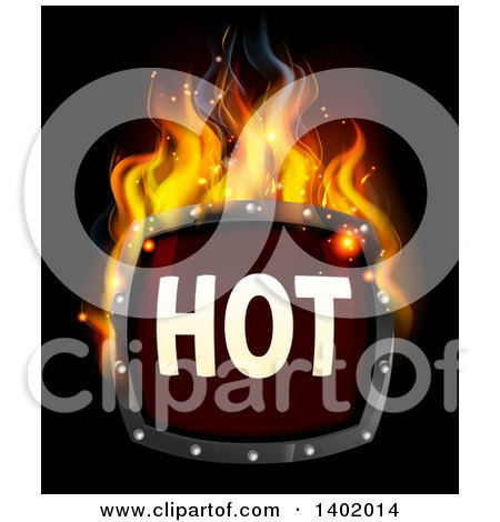 Clipart of a Flaming Hot Fire Sign on Black - Royalty Free Vector Illustration by AtStockIllustration