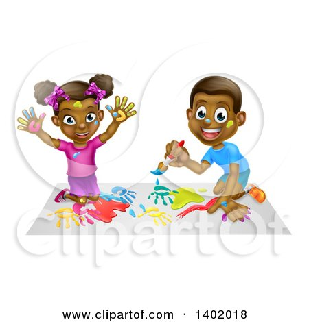 Cartoon Happy Black Girl and Boy Kneeling and Painting Artwork Posters, Art Prints