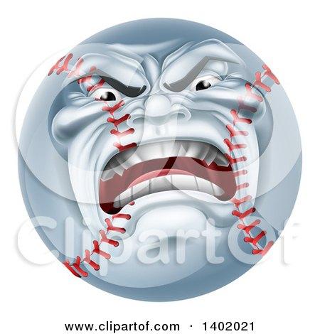 Clipart Of A Furious Baseball Character Mascot Royalty Free Vector Illustration