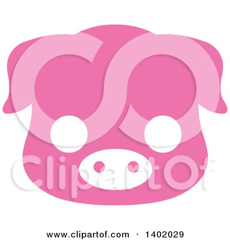 Clipart Of A Cute Pink Piggy Animal Face Avatar Or Icon Royalty Free Vector Illustration