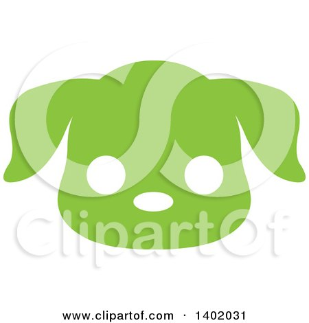 Clipart of a Cute Green Puppy Dog Animal Face Avatar or Icon - Royalty Free Vector Illustration by Pushkin