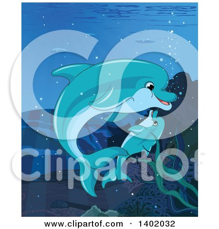 Clipart of a Cute Baby Dolphin and Mother Swimming Underwater - Royalty Free Vector Illustration by Pushkin