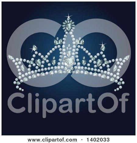 Clipart of a Princess Tiara on Dark Blue - Royalty Free Vector Illustration by Pushkin