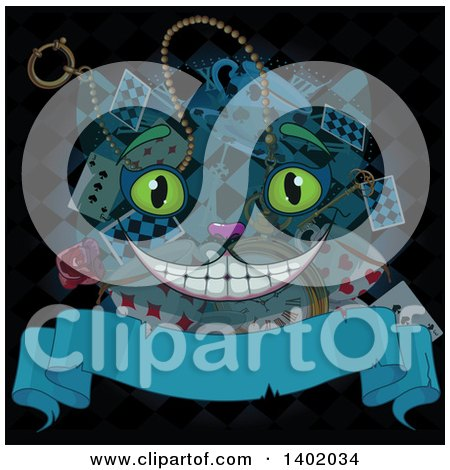 Clipart of a Cheshire Cat Alicen in Wonderland Face over Cards, Rose, Clock and Tea Cup with a Blank Banner on Black - Royalty Free Vector Illustration by Pushkin