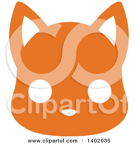 Clipart of a Cute Orange Cat Animal Face Avatar or Icon - Royalty Free Vector Illustration by Pushkin