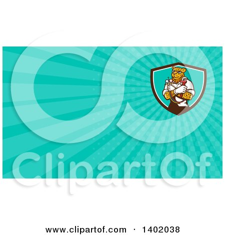 Clipart of a Cartoon Refrigeration and Air Conditioning Mechanic Leopard Holding a Pressure Temperature Gauge and Monkey Wrench and Turquoise Rays Background or Business Card Design - Royalty Free Illustration by patrimonio