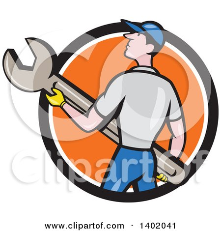 Clipart of a Retro Cartoon White Handy Man or Mechanic Holding a Spanner Wrench in a Black White and Orange Circle - Royalty Free Vector Illustration by patrimonio