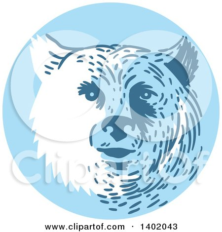 Clipart of a Retro Bear Head in a Blue Circle - Royalty Free Vector Illustration by patrimonio