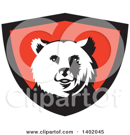 Clipart of a Retro Grizzly Bear Head in a Black and Red Shield - Royalty Free Vector Illustration by patrimonio