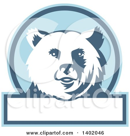 Clipart of a Retro Grizzly Bear Head in a Blue and White Circle with Text Space - Royalty Free Vector Illustration by patrimonio
