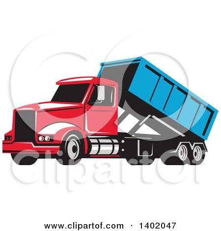 Clipart of a Retro Roll off Bin Dump Truck - Royalty Free Vector Illustration by patrimonio