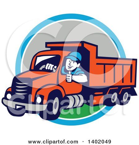 Clipart of a Retro Male Dump Truck Driver Giving a Thumb up over a Blue White and Gray Circle - Royalty Free Vector Illustration by patrimonio