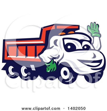 Clipart of a Cartoon Red Dump Truck Mascot Waving - Royalty Free Vector Illustration by patrimonio
