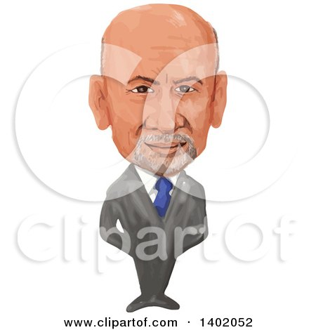 Clipart of a Watercolor Caricature of the Prime Minister of Afghanistan, Ashraf Ghani Ahmadzai - Royalty Free Vector Illustration by patrimonio