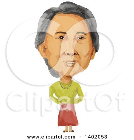 Clipart of a Watercolor Caricature of the Prime Minister of Republic of the Union of Myanmar Burma, Aung San Suu Kyi - Royalty Free Vector Illustration by patrimonio