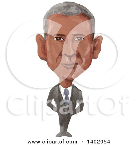 Clipart of a Watercolor Caricature of the 44th American President of the United States of America, Barack Obama - Royalty Free Vector Illustration by patrimonio