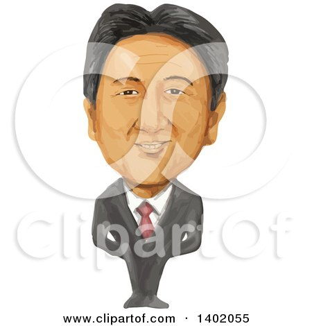 Clipart of a Watercolor Caricature of the Primie Minister of Japan, Shinzo Abe - Royalty Free Vector Illustration by patrimonio