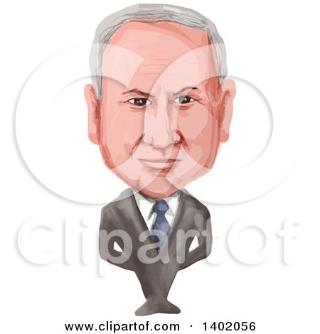 Clipart of a Watercolor Caricature of the 9th Prime Minister of Israel, Benjamin Netanyahu - Royalty Free Vector Illustration by patrimonio