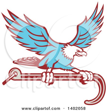 Clipart of a Retro Blue Bald Eagle Flying with a Towing J Hook - Royalty Free Vector Illustration by patrimonio