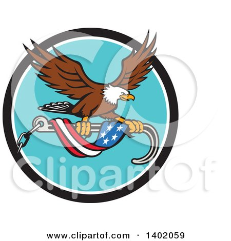 Clipart of a Retro Bald Eagle Flying with a Towing J Hook and an American Flag Banner - Royalty Free Vector Illustration by patrimonio