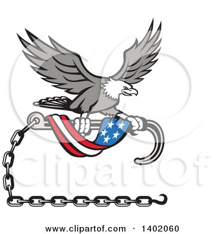 Clipart of a Retro Grayscale Bald Eagle Flying with a Towing J Hook and an American Flag Banner - Royalty Free Vector Illustration by patrimonio