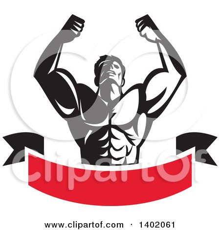 Clipart of a Retro Black and White Strong Male Bodybuilder Holding His Arms up and Flexing over a Red Banner - Royalty Free Vector Illustration by patrimonio